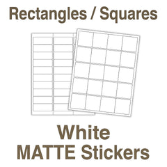 Square and Rectangle White Stickers
