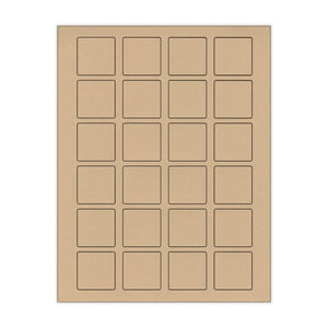 "1.5""x 1.5"" Kraft Square Stickers"