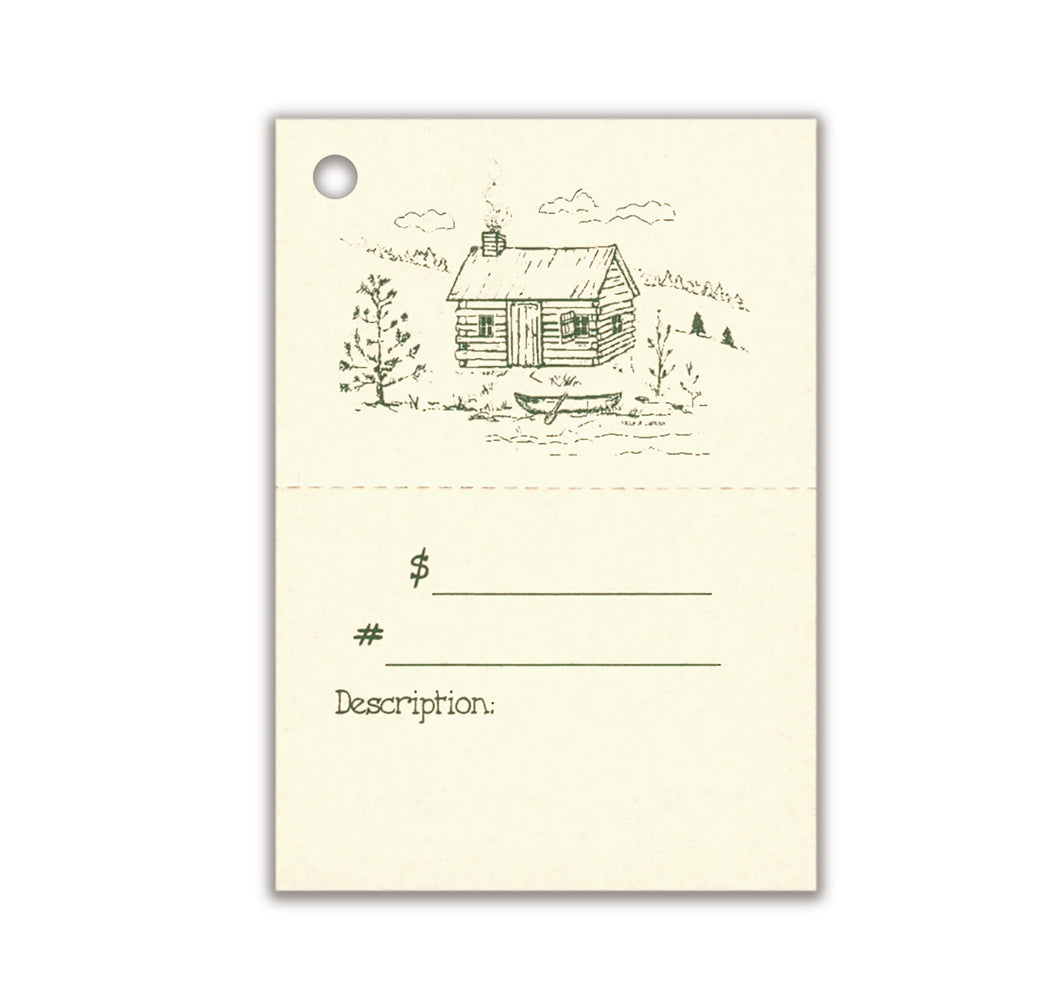 2-Part LOG CABIN Description Tag, Perforated For Price
