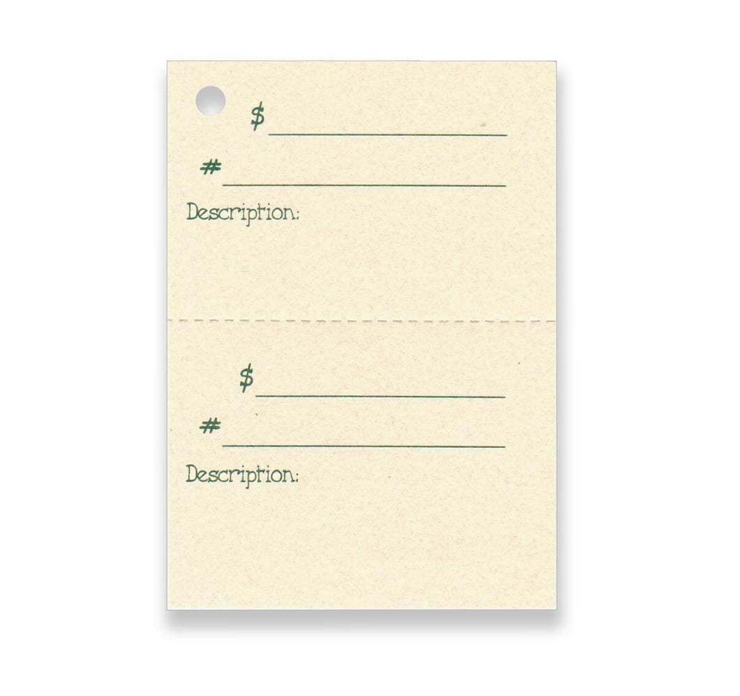 2-Part DOUBLE DESCRIPTION Tag, Perforated For Price