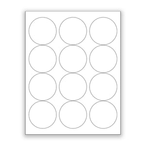 "2.5"" White Matte Circle Stickers"