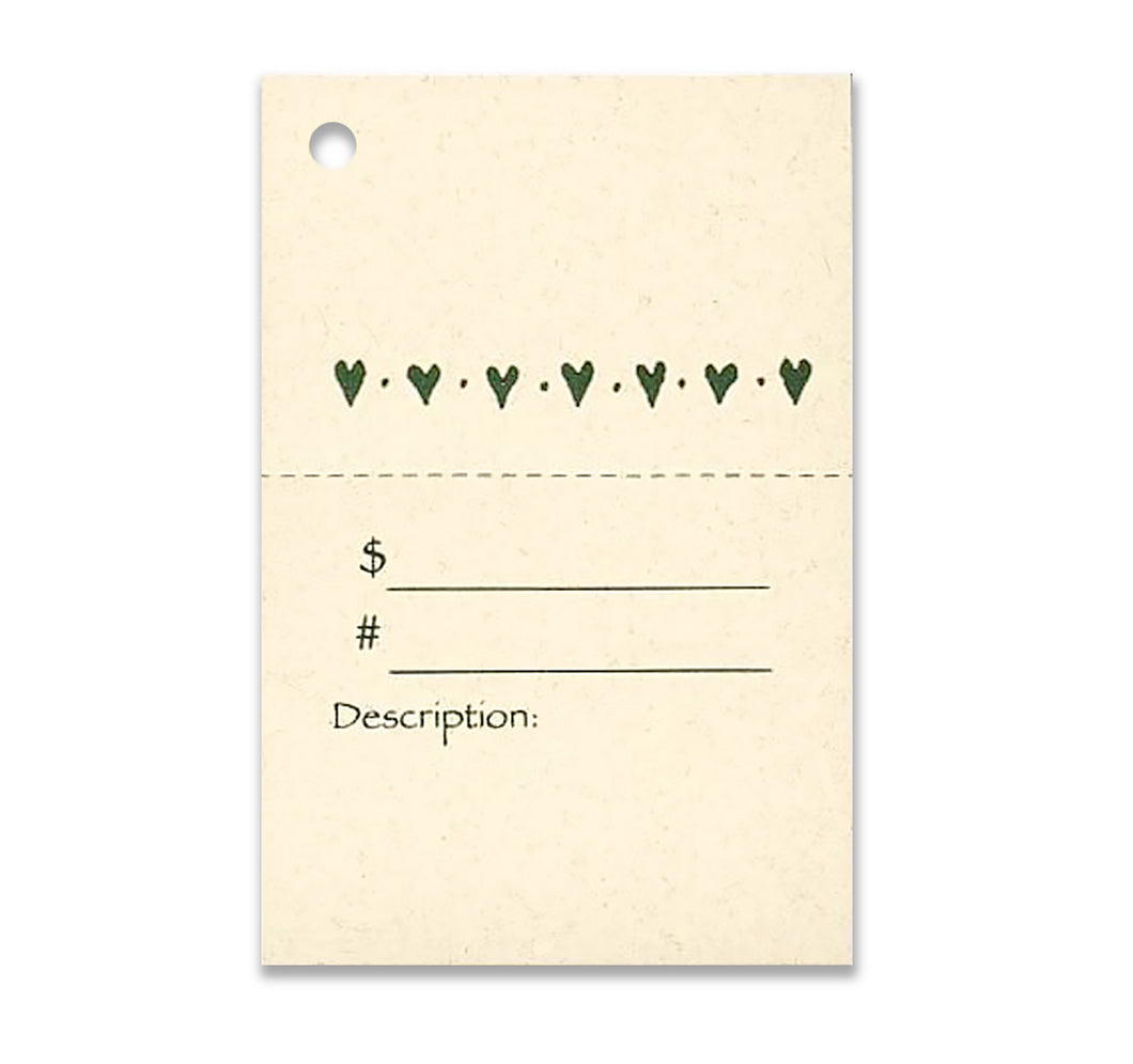 2-Part HEARTS Description Tag, Perforated For Price