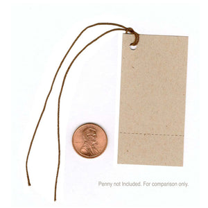 "1-3/8""x 2-3/4"" Blank Kraft Tags~Perforated/ Dk Brown Strings"
