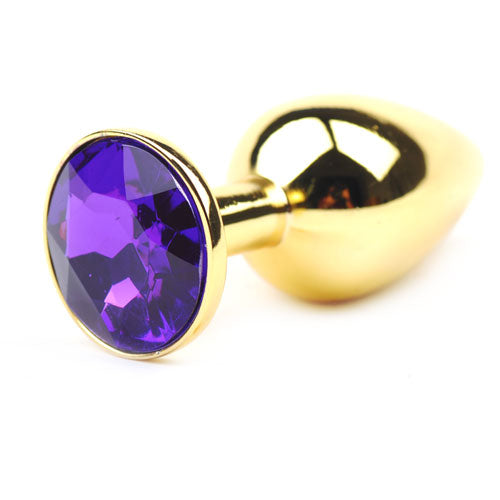 Gold Anal Plug Small w/ Purple Diamante