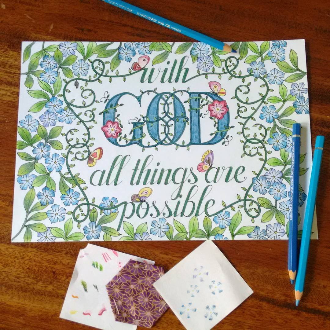 Colouring In | With God All Things Are Possible - Matthew 19:26 - Sweet Honeycomb - 2