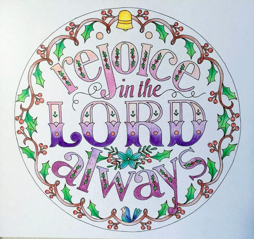 Coloring In Page | Rejoice in the Lord Always - Philippians 4:4 - Sweet Honeycomb - 3