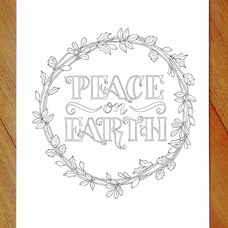 peace on earth colouring in page