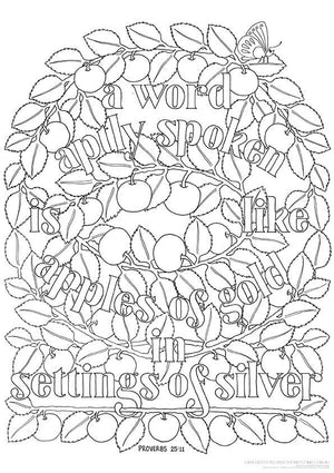Colouring In Bible Verse | A Word Aptly Spoken Is Like Apples of Gold - Proverbs 25:11 - Sweet Honeycomb - 1