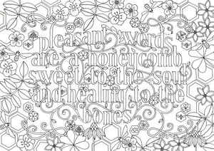 Coloring In | Pleasant Words are a Honeycomb - Proverbs 16:24 (instant download)