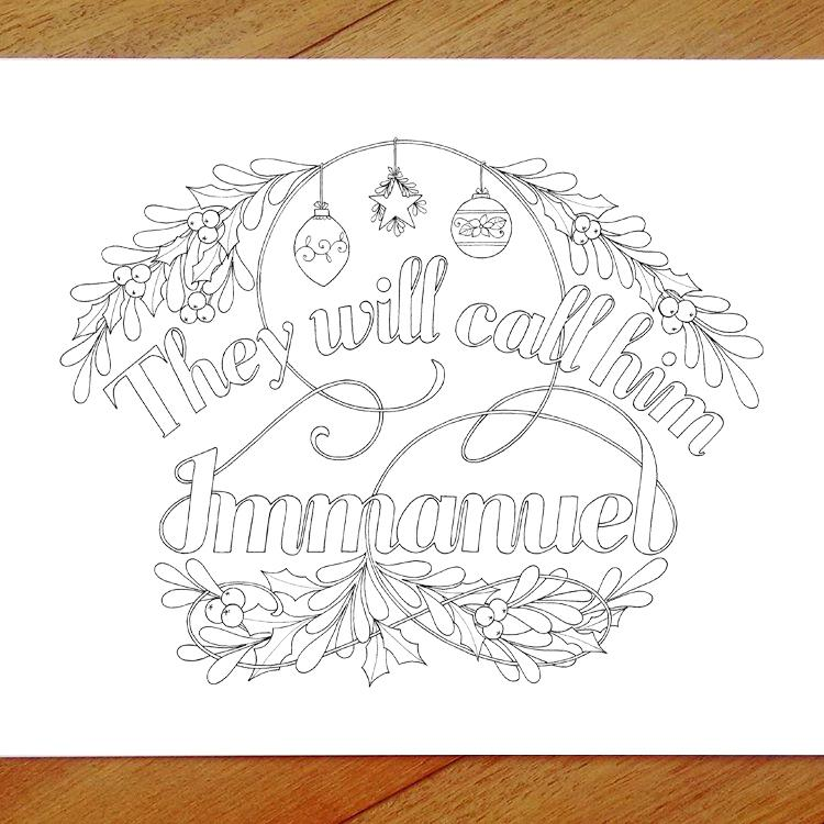 they will call him immanuel - colouring in page