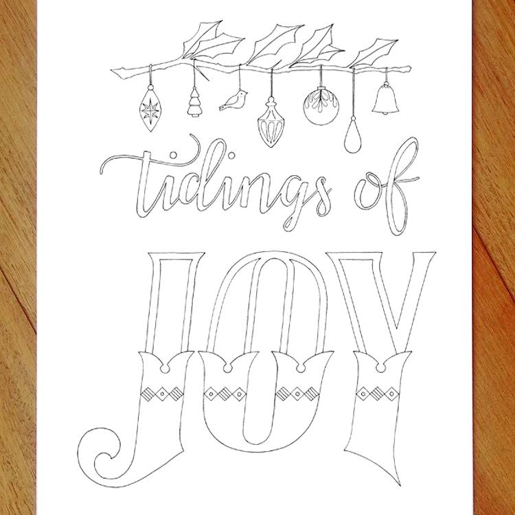 tidings of joy christmas colouring in page
