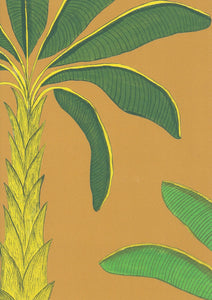 Tropical Wallpaper SAMPLE A4 size (approx) | Colour: Gamboge Yellow
