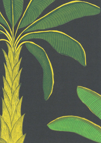 Tropical Wallpaper SAMPLE A4 size (approx) | Colour: Mallard Green