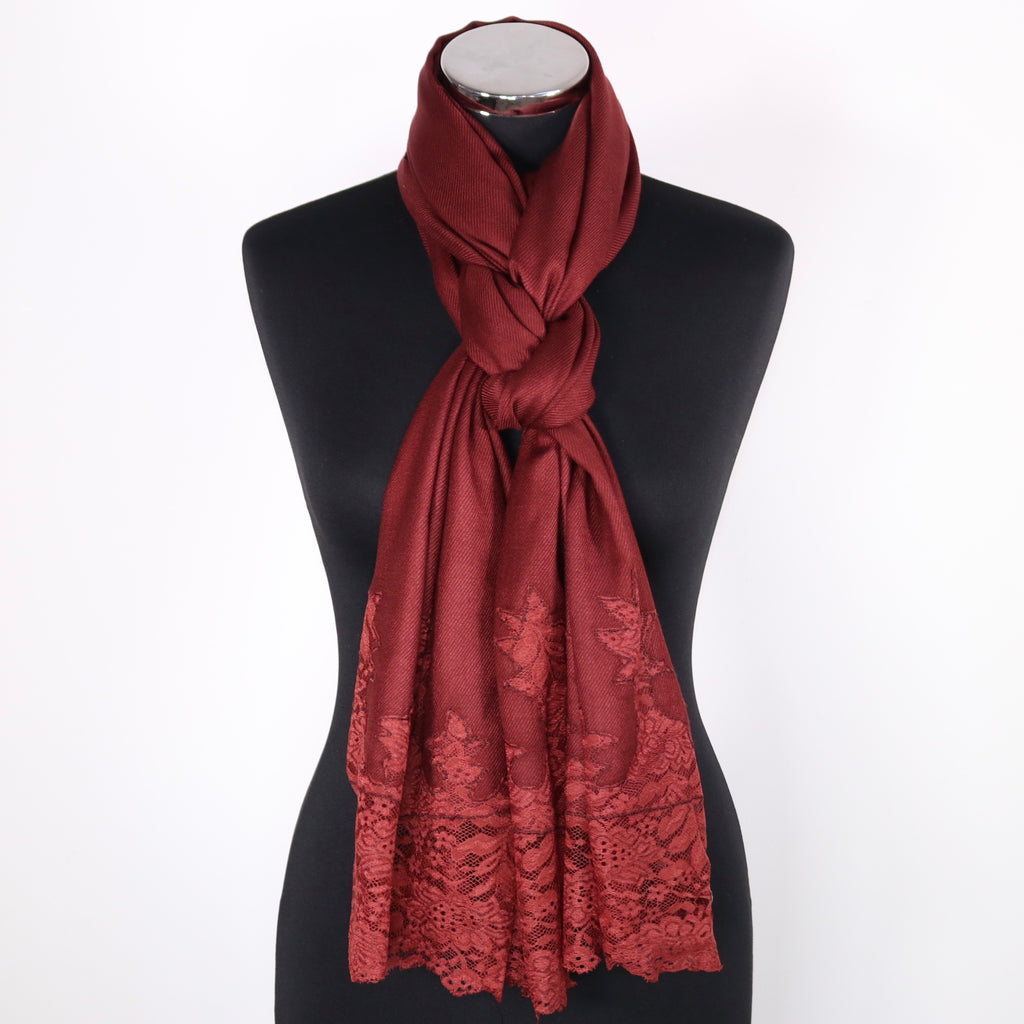 Viscose Scarf With Lace Border