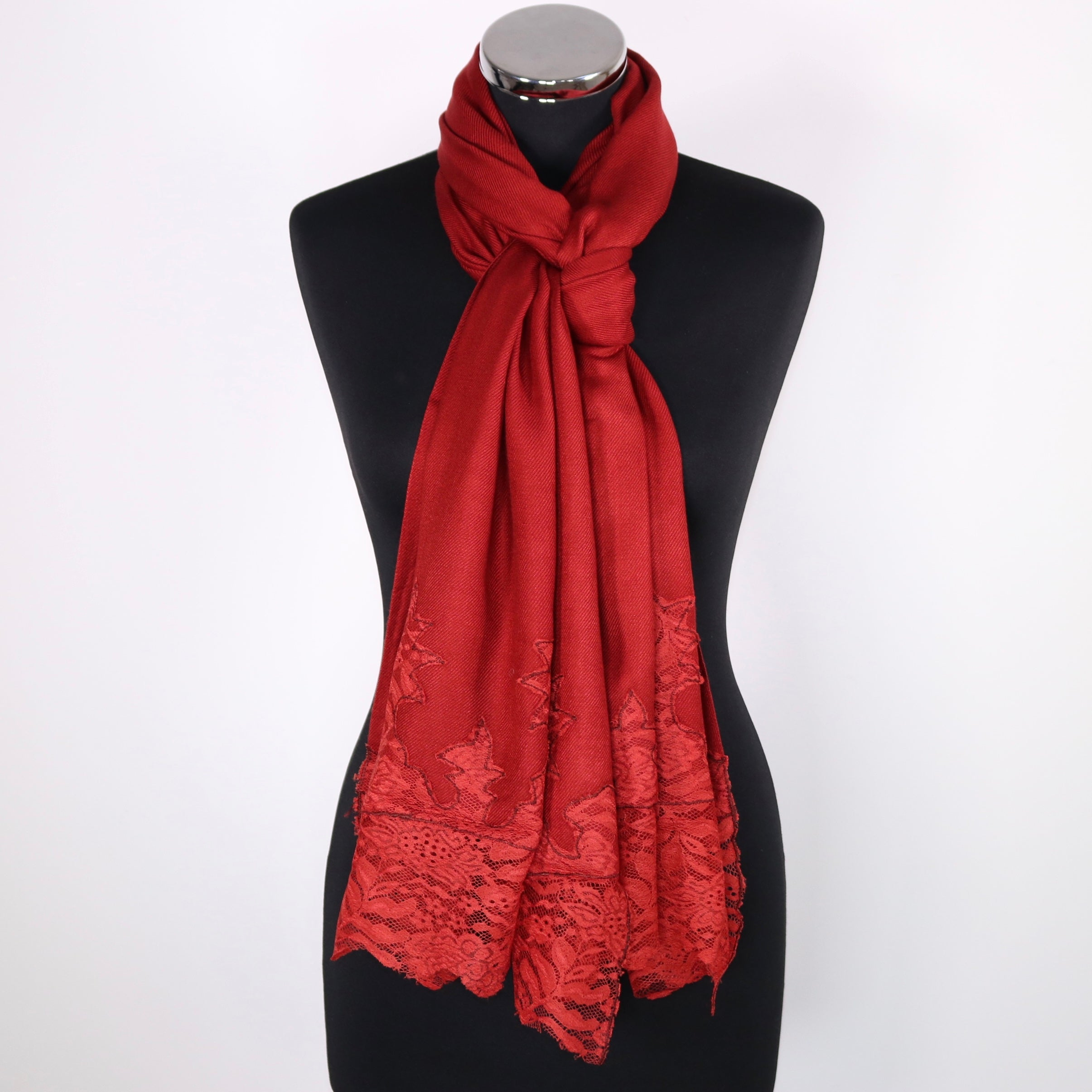 Piper Viscose Scarf With Lace Border