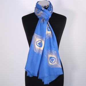 Cashmere Scarf With Foil Peacock Design