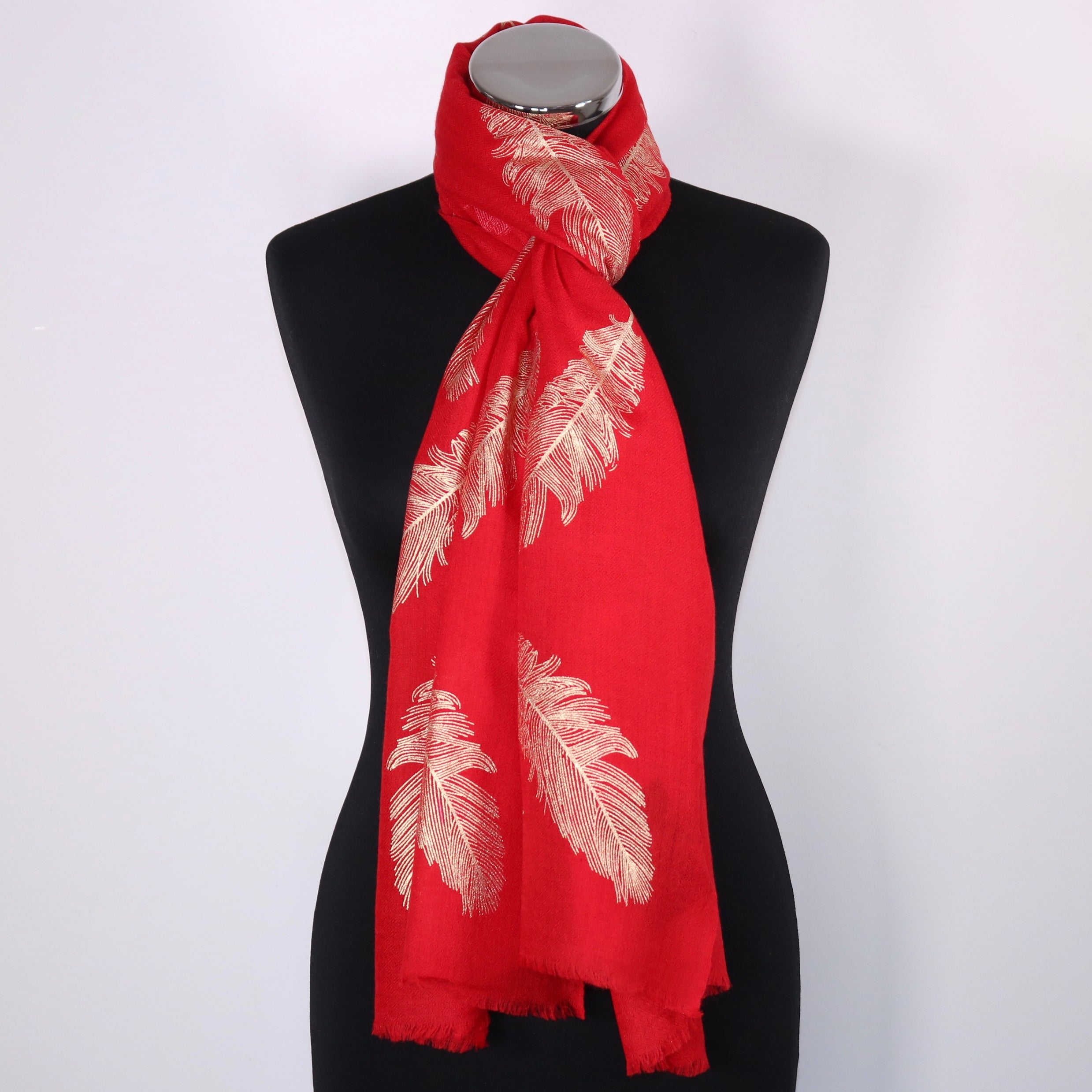 Cashmere Scarf With Large Feather Foil Design