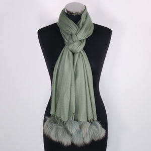 Cashmere Scarf With Faux Fur Pom Poms