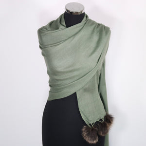 Grace Cashmere Scarf With Faux Fur Pom Poms