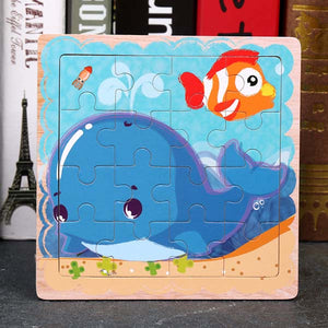Montessori Toys Educational Wooden Toys for Children Early Learning 3D Cartoon Animal Puzzles Kids Intelligence Math Jigsaw