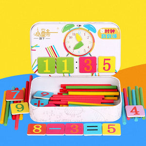 Montessori Magnetic Iron Box Digital Clock Math Toy Number Counting Toy Wooden Stick Baby Kids Learning Educational Toy Gifts