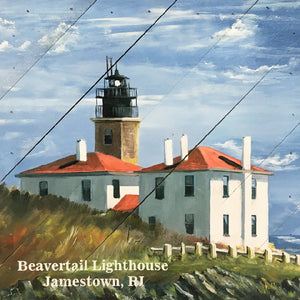"10"" x 10"" Beavertail Lighthouse Hanging Wood Sign"