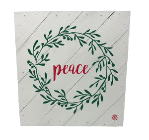 "10"" x 10"" Peace Hanging Wood Plank"