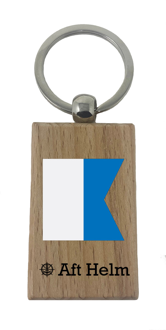 Nautical Flag Initial Keychain