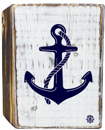 Anchor Rustic White Wood Block