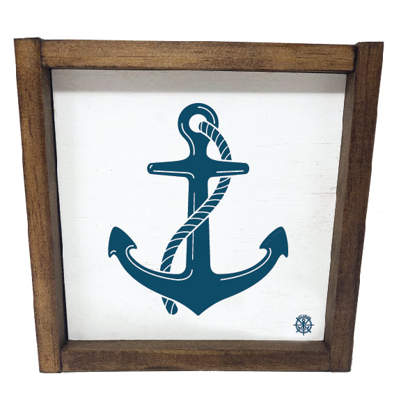 Framed Nautical Anchor Sign