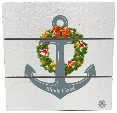 RI Anchor Wreath Wood Hanging Plank