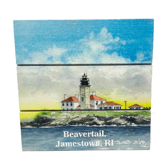 Beavertail Jamestown, RI Lighthouse Wood Hanging Plank