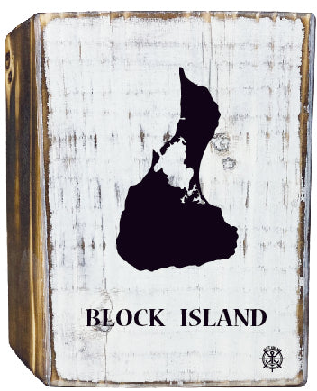 Block Island Rustic White Wood Block