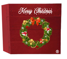 "Load image into Gallery viewer, 6"" x 6"" Christmas Wreath Wood Box"