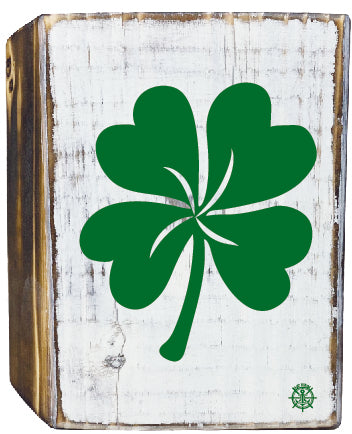 Irish Shamrock Rustic White Wood Block