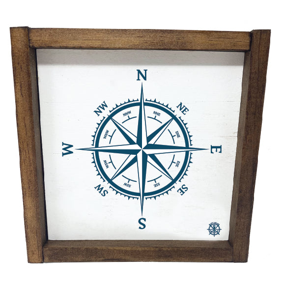 Framed Nautical Compass Sign