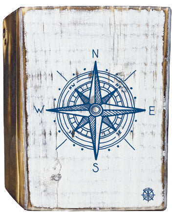 Compass Rustic White Wood Block