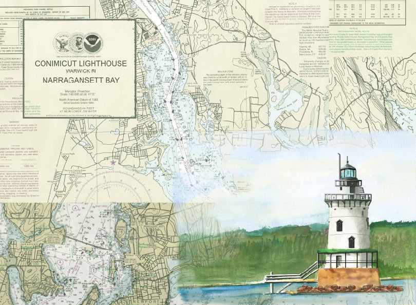 Conimicut Point Lighthouse on Canvas