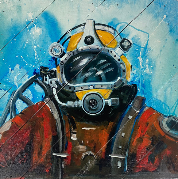 Deep Sea Diver Hanging Wood Sign