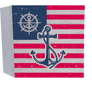 Flag Anchor Wood Shelf Sitter