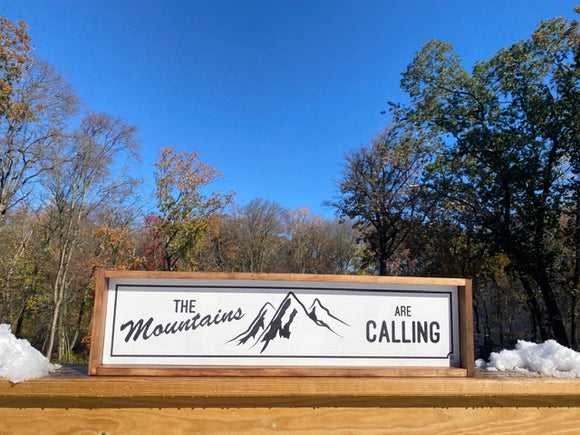 Mountain's Calling Framed Wood Sign