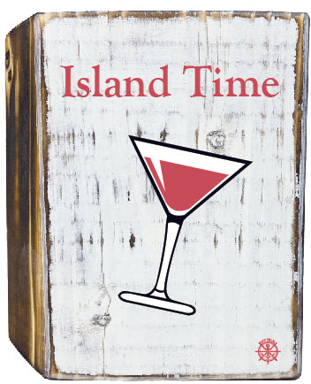 Island Time Rustic White Wood Block