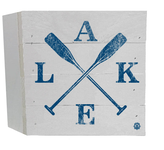 Rustic Blue Lake House words with Oars
