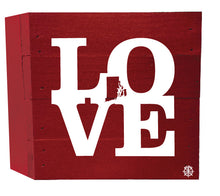 "Load image into Gallery viewer, 6"" x 6"" RI Love Wood Box"