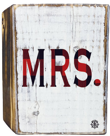 Mrs. Rustic White Wood Block