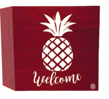 "Load image into Gallery viewer, 6"" x 6"" Pineapple Welcome Wood Box"