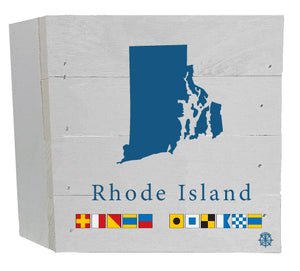 "6"" x 6"" RI Nautical Flag Wood Box"