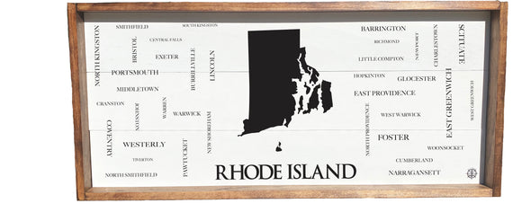 RI State Cities and Towns Framed Sign