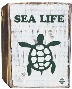 Sealife Turtle Rustic White Wood Block