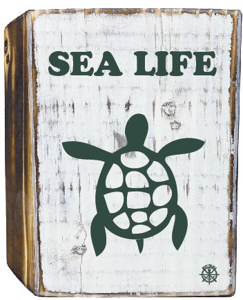 Sealife Rustic White Wood Block
